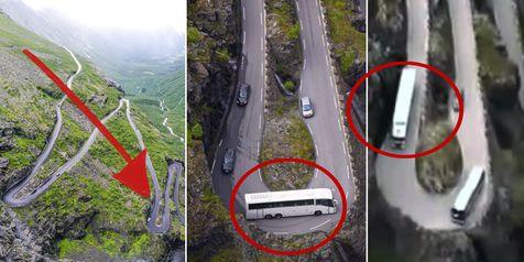 Sebuah video yang diunggah oleh pengguna media sosial Youtube bernama Primarch, mempertontonkan bagaimana truk kontainer dan bus besar saling bekerjasama untuk melewati tikungan mematikan di Trollstigen di Rauma, Møre og Romsdal, Norwegia.