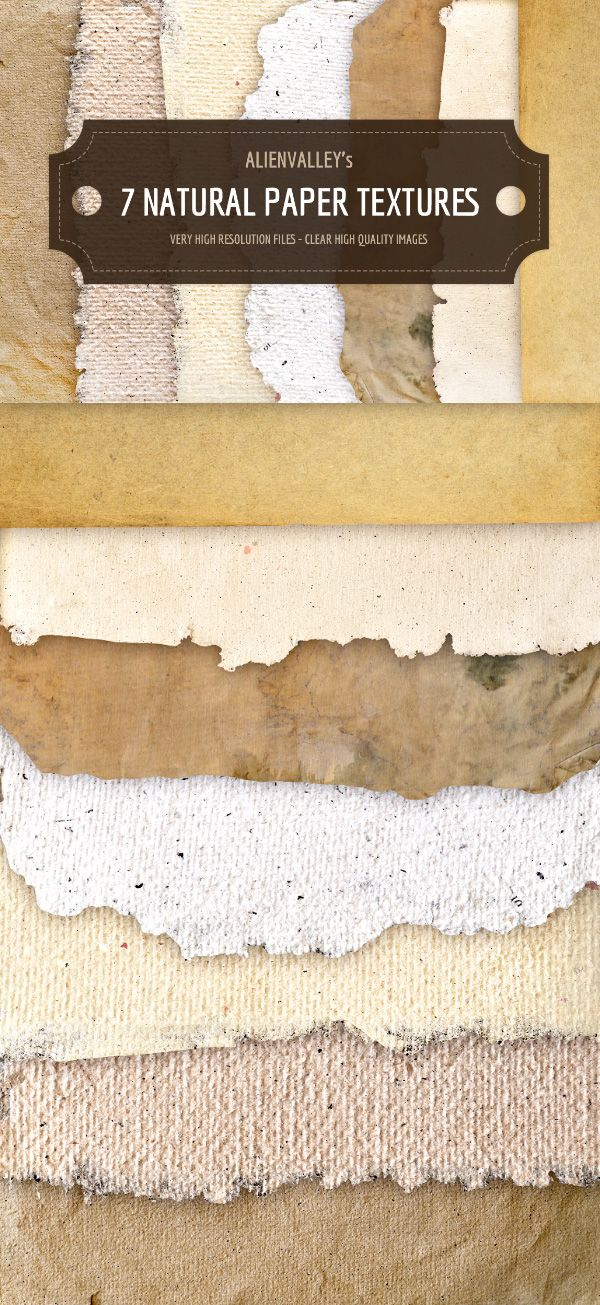 A set of 7 natural paper textures available in high-resolution transparent PNG format. #art