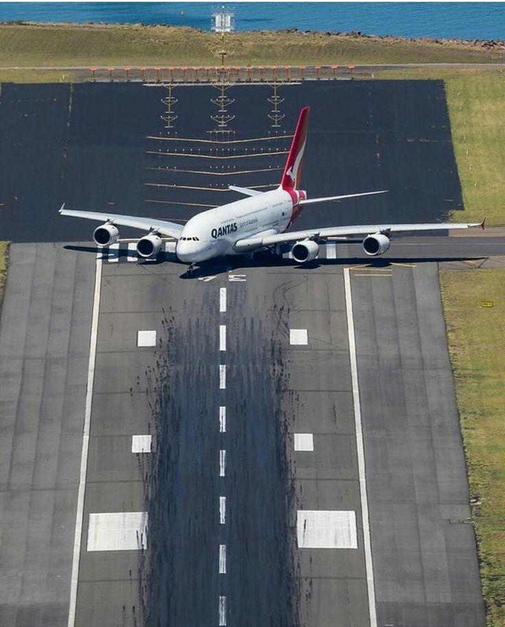 Qantas A380 prepares for take-off