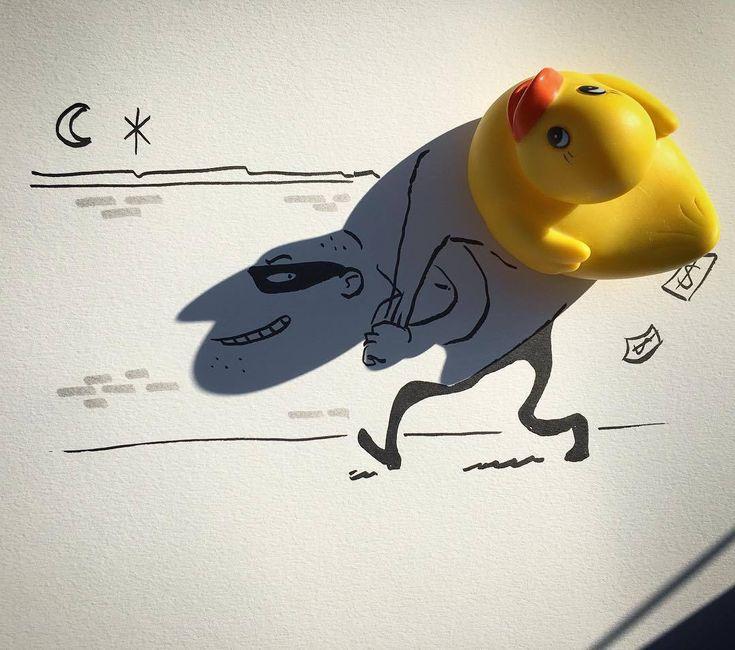 L'illustrateur et réalisateur belge Vincent Bal utilise les ombres portées projetées par des objets du quotidien et dessine à l'intérieur pour créer des illustrations ingénieuses. Elles sont disponibles sur Etsy.
