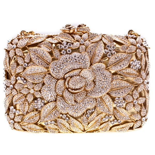 Swarovski Crystal Flower Clutch in Gold ($1,650) ❤ liked on Polyvore featuring bags, handbags, clutches, purses, accessories, gold clutches, gold purse, gold handbag, brown purse and flower handbag