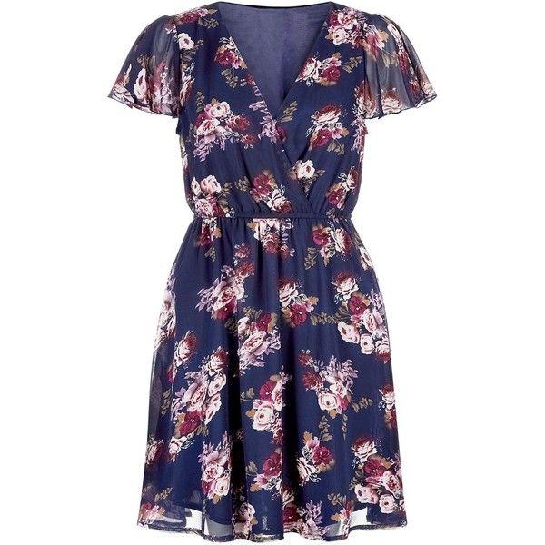 Mela Blue Paisley Print Cap Sleeve Dress ($39) ❤ liked on Polyvore featuring dresses, paisley print dress, blue paisley dress, vneck dress, mini dress and v neck dress