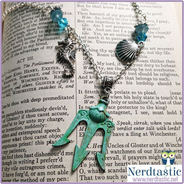 Greek Mythology Percy Jackson inspired Trident Necklace (Patina or... ($28) ❤ liked on Polyvore featuring jewelry, necklaces, bead necklace, seahorse necklace, charm jewelry, silver charms and silver jewelry