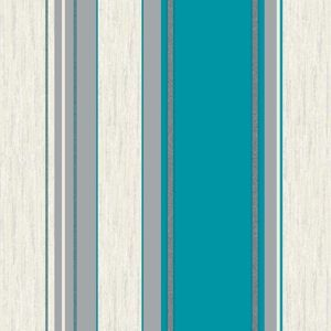 Vymura Synergy Stripe Vinyl Wallcovering - Teal