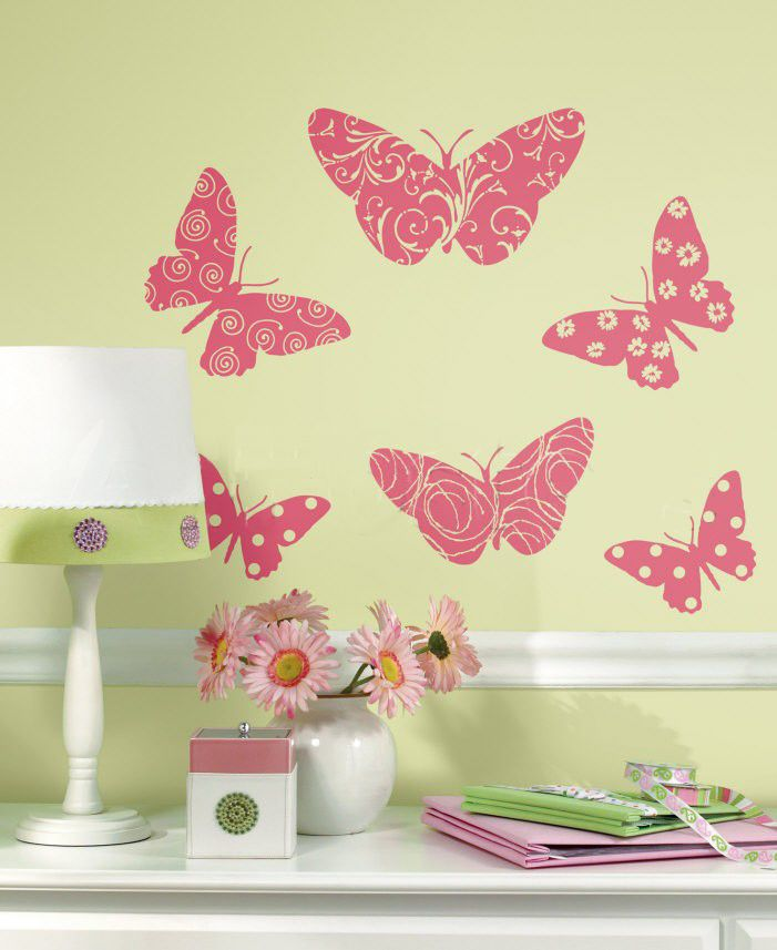 Whimsical Wall Stickers - Pink Butterfly (Decal), $9.95 (http://www.whimsicalwallstickers.com.au/pink-butterfly/)  Six (6) pretty pink patterned butterflies to place on the wall.    Contents:  stickers and transfer paper  Size: when installed: 1.5 m x 70 cm (estimated)   Material: Vinyl Fabric