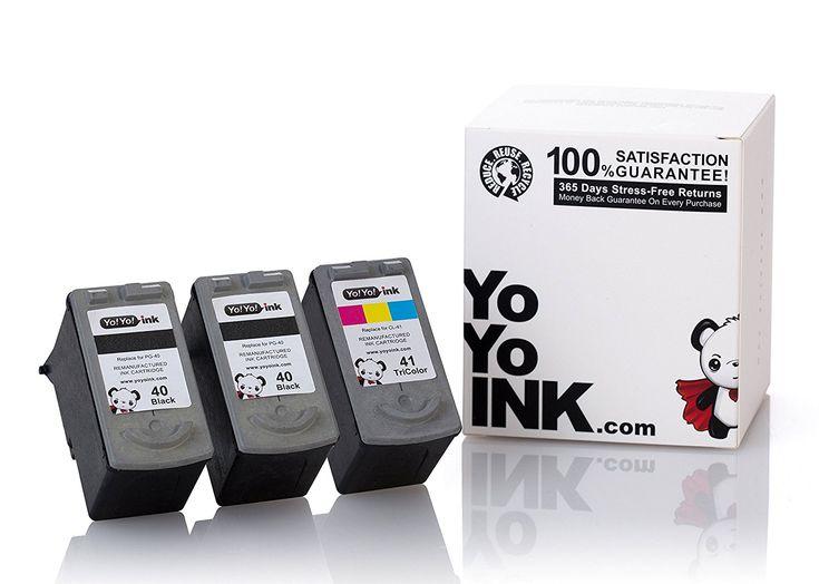 Remanufactured Canon PG-40 Black & CL-41 Color Printer Ink Cartridges: 2 Black, 1 Cyan, 1 Magenta, 1 Yellow (3 Pk)