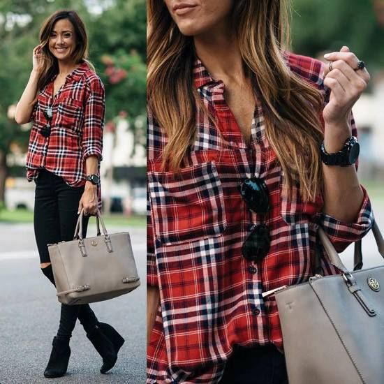 red plaid shirt outfit, What to wear in Thanks-giving day http://www.justtrendygirls.com/what-to-wear-in-thanks-giving-day/
