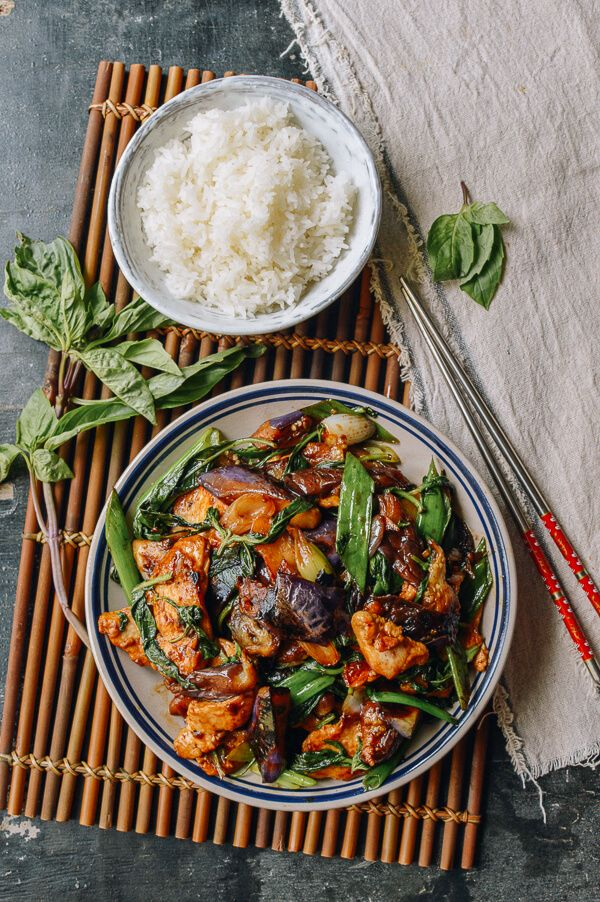 Thai Eggplant Stir-fry with Chicken & Basil recipe, by thewoksoflife.com