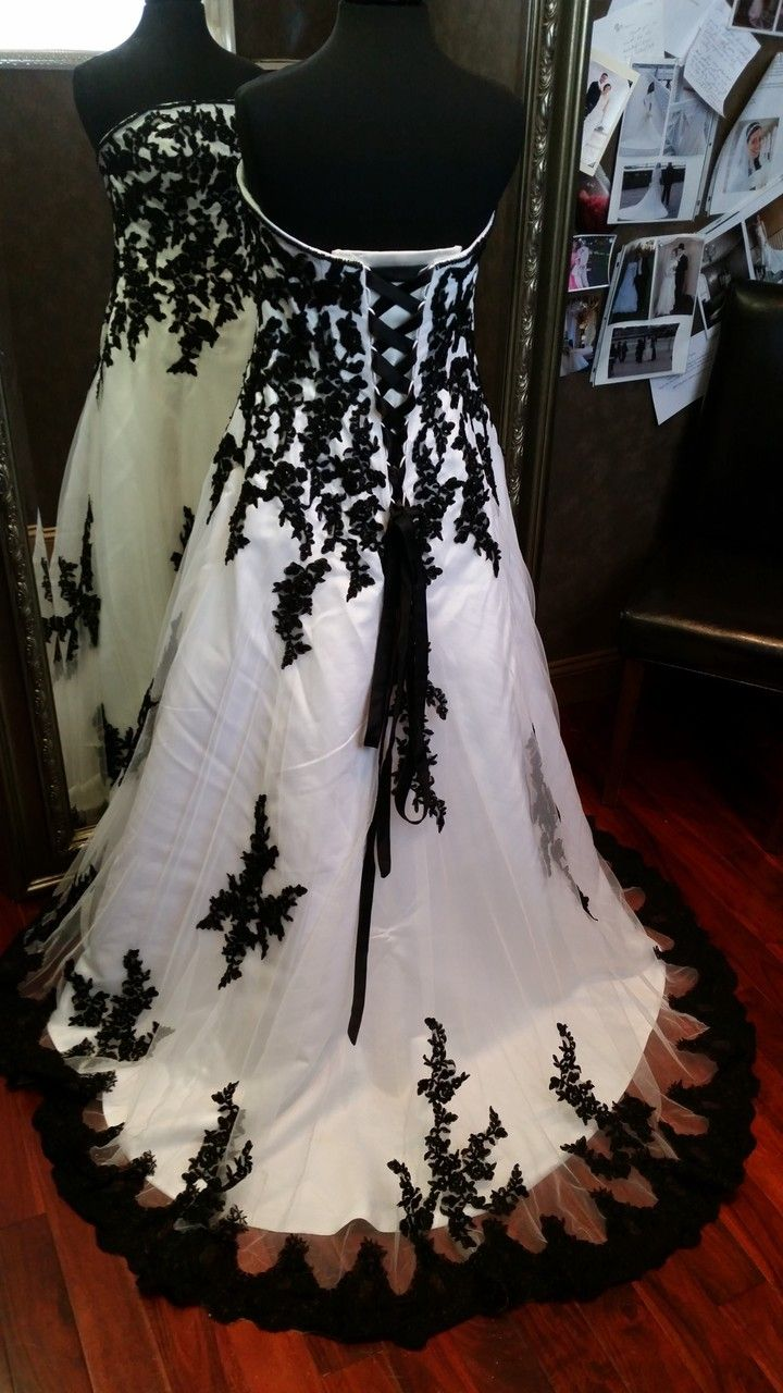 halloween wedding gown halloween wedding dresses Black and White Bridal Gown BWDN Available in Every Color