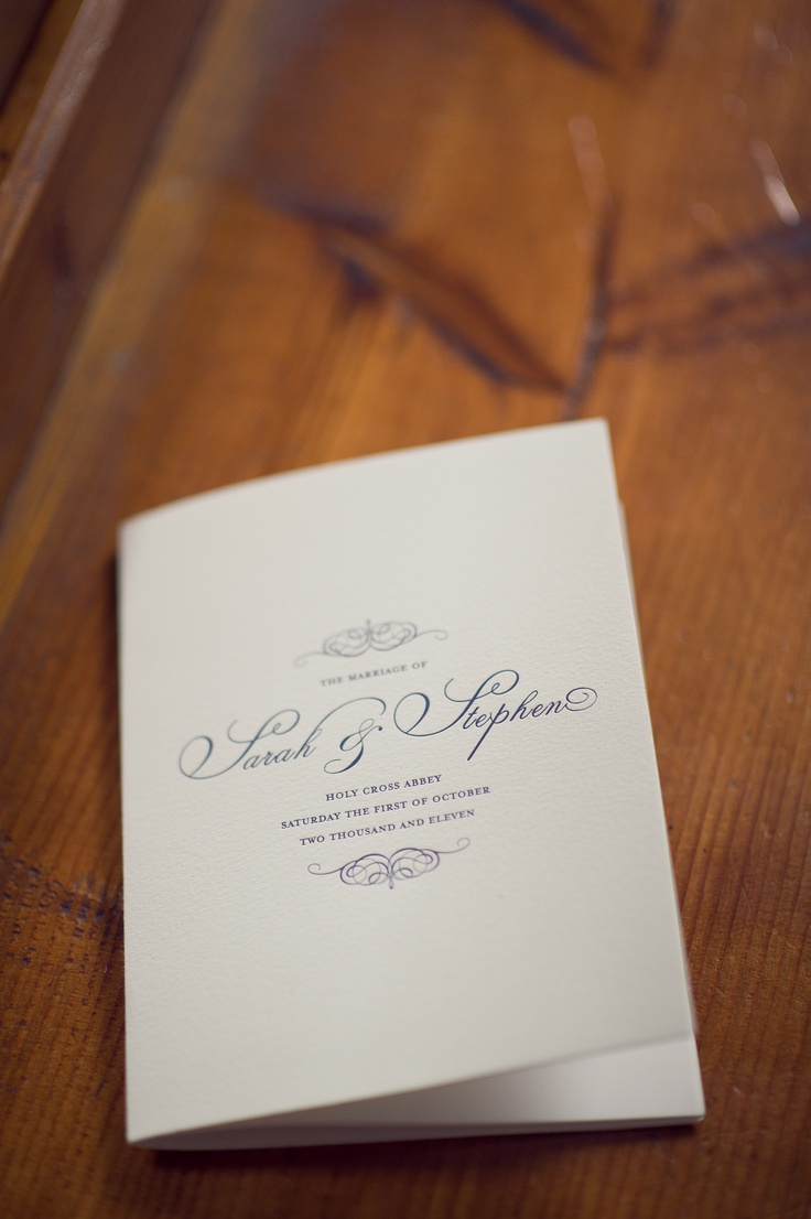 Letterpress Wedding Ceremony Booklet Cover