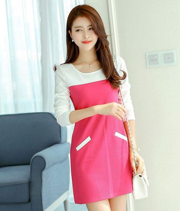 ชุดเดรสทำงานสีชมพู แขนยาว คอกลม ช่วงแขนเย็บผ้าสีขาว เรียบเก่ http://www.fashiontooktook.com/product/3293/