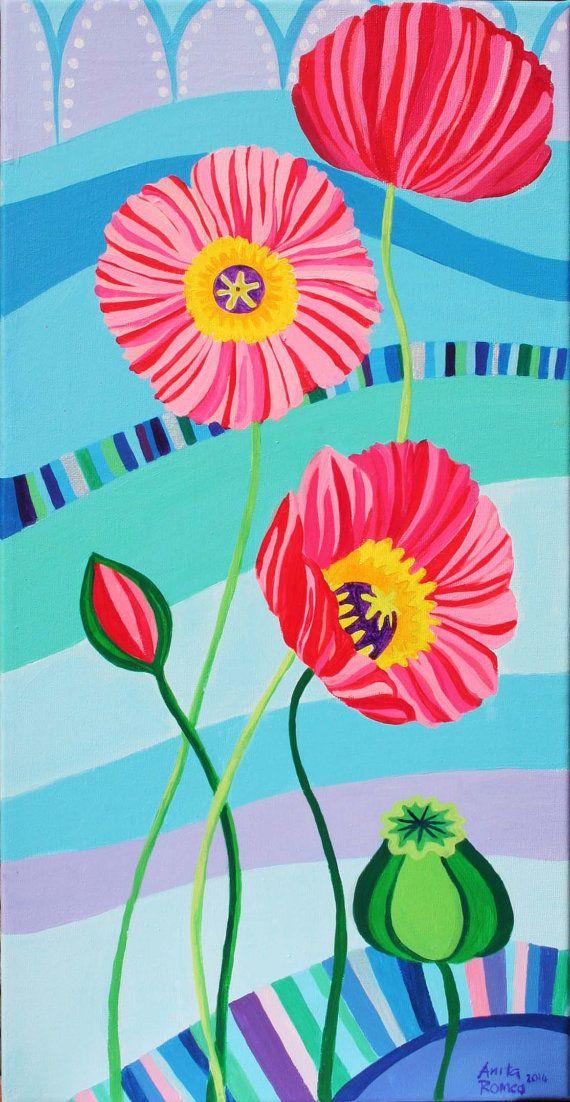 Poppy Flowers Original Painting from Etsy AnitaRomeoPaintings