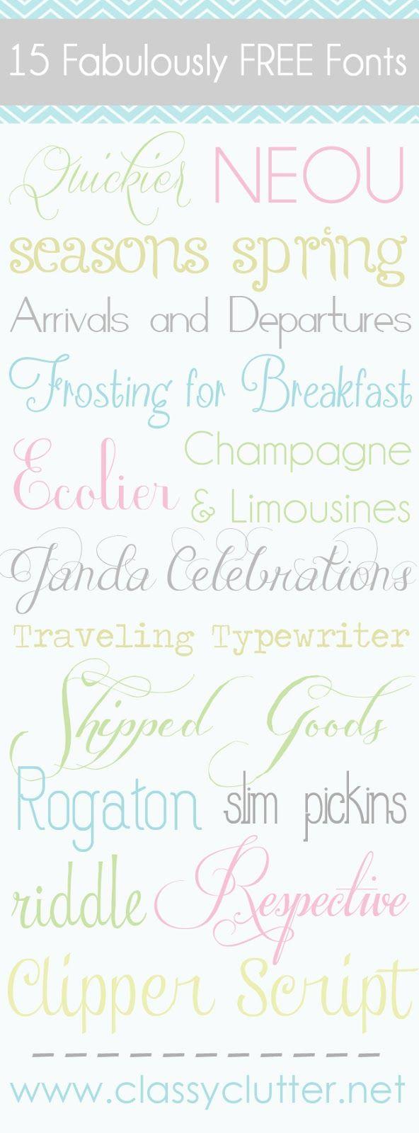 15 Fabulously FREE Fonts - www.classyclutter.net