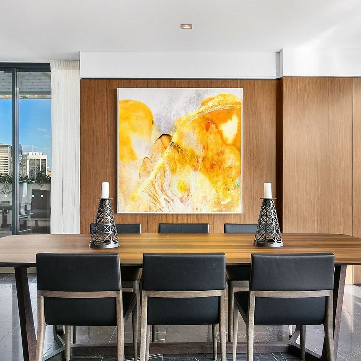 [repost] This statement piece made us stop in our tracks and we just had to share. This bright yellow number hangs in the dining room of Zetian Zhang's penthouse in Sydney, Australia.  . ⠀ .⠀ .⠀ .⠀ (Credits: @raywhitegroup)  . . #interior #interiors #interiordecor #interiordesign #interiorstyling #classyinteriors #canvas #art #artwork #luxuryinteriors #luxuryhomes #architecture #classy #yellow #amber #golden #Australia #fineart #statementart #statementpiece #yellowandwhite