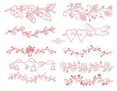 flowers in the garden  hand embroidery patterns | ... pattern has 10 borders and it includes designs with leaves flowers