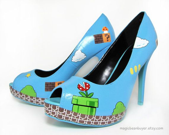 Marioverse shoes: Geek Fashion, Supermario, Super Mario Brother, Mario Heels, Mario Pumps, Mario Shoes, High Heels, Hands Paintings Super, Super Mario Bros