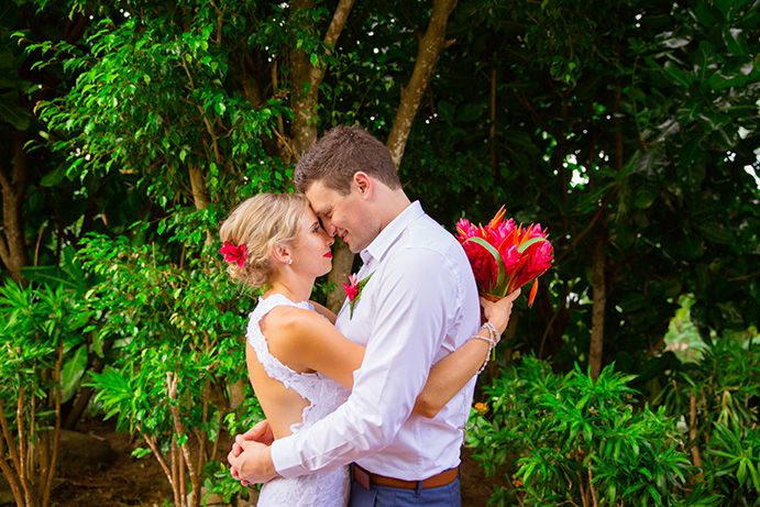 Outrigger Fiji Beach Resort Wedding Ideas Planning Inspiration Tropical Paradise Style Floral Design Planning Photography Arrangement Stunning Flowers Love Nature Shot Green Ferns Trees Palms Outdoors White Vintage Bouquet Red Flowers