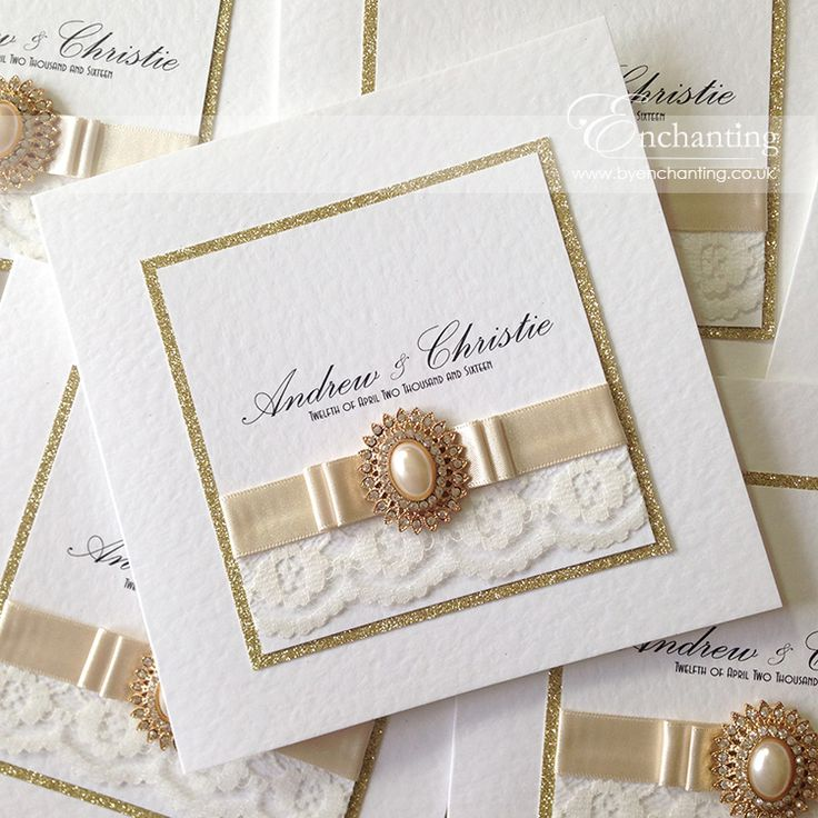 laser cut wedding invites canada%0A Andrew  u     Christie u    s gold lace wedding invitations saw the use of gold  glitter  ivory lace and pearl ribbon topped with a stunning gold pearl  embellishment