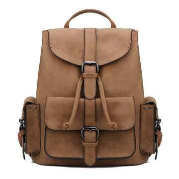 Brown Backpack with Drawstring Design and Magnetic Closure - US$45.95 -YOINS