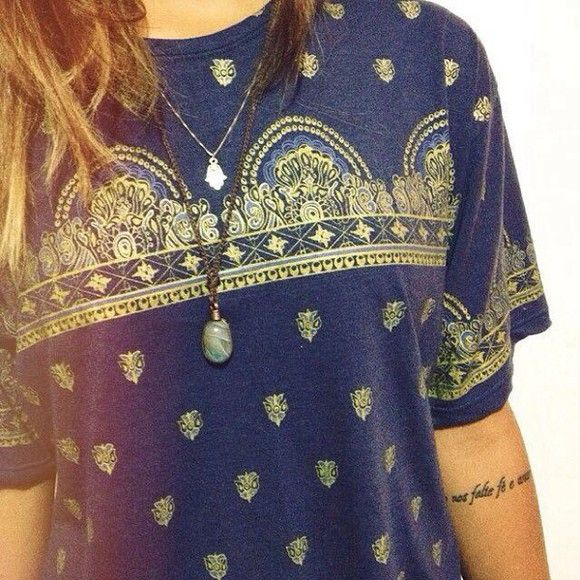 t-shirt indie blue shirt clothes jewels boho hippie vintage nice girl cool modern figures print dark blue tumblr shirt design gold prints bandana print print necklace tumblr gold detailing turquoise jewelry turquoise tumblr girl top hipster indie gypsy so
