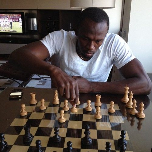 Usain Bolt, the fastest human ever, playiny chess
