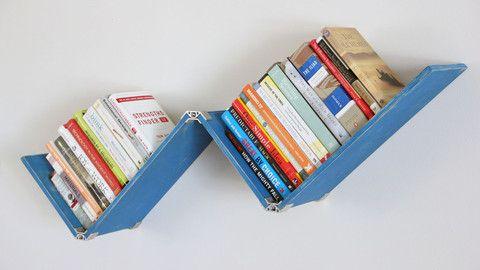 DIY plywood reclaimed wood wall shelf with PLY90 plywood clip bracket