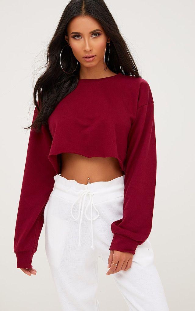 Maroon Cut Off Crop Longsleeve Sweater