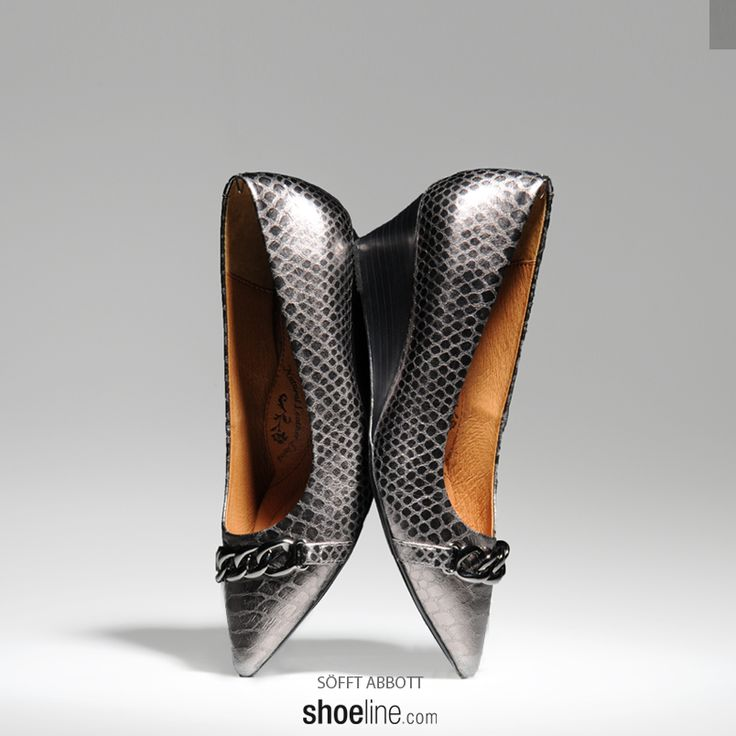 the Sofft Abbott  #dressy #wedge with #buckle detail.  #chain #pewter #shoe #snakeskin #animalprint