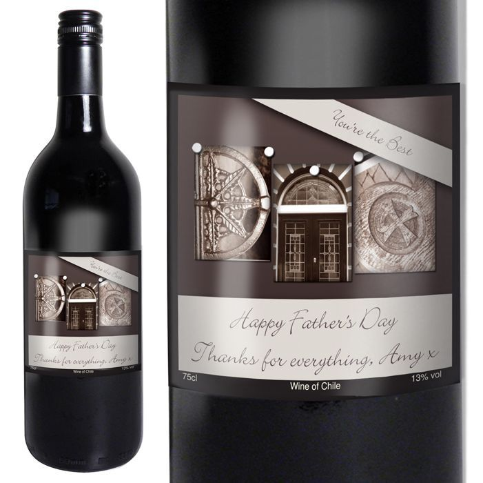 Personalise this DAD red wine gift box with any message of your choice The image on the label is made up of different architectural images to display