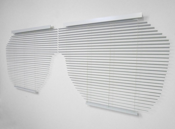 """Adam Parker Smith,Untitled (Kanye Shutter Shades),2012, aluminum, nylon, wood,114"""" by 56""""; Courtesy Ever Gold Gallery, booth #602, artMRKT San Francisco."""