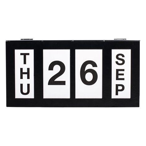 Kalender Box. . Manuell kalender med metallåda och papperskort.
