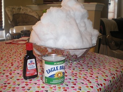 Snow Ice Cream! This stuff really is great! and fun for the kids too. Paula Deen's recipe is best - 8 Cups Fresh (Clean) Snow, Sweetened Condensed Milk (14 oz Can) and 1 tsp of vanilla. Mix all and enjoy. So easy!