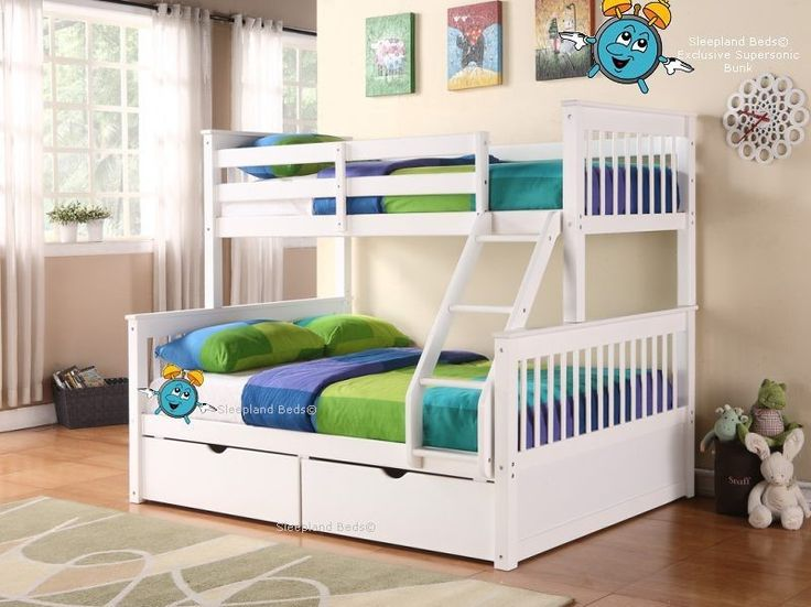 White Supersonic Wooden Double Bunk Beds With Drawers - Triple Sleeper