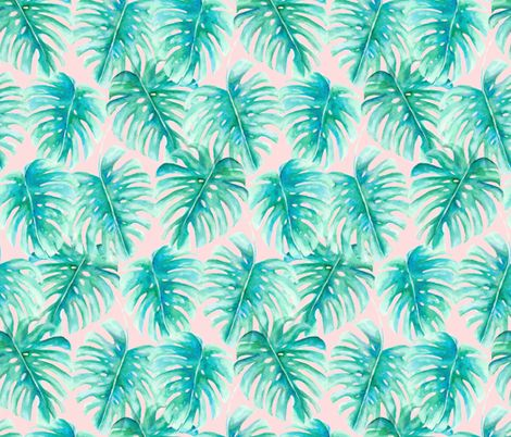 Paradise Palms Blush fabric by mjmstudio on Spoonflower - custom fabric