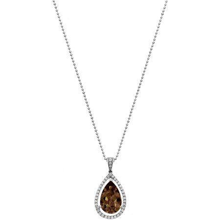 5th & Main Platinum-Plated Sterling Silver Slender Teardrop-Cut Smokey Topaz Pave CZ Pendant Necklace, Women's