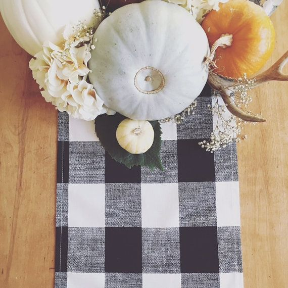 Buffalo Plaid Fall Table Runner  One by TheSeafoamCottage on Etsy
