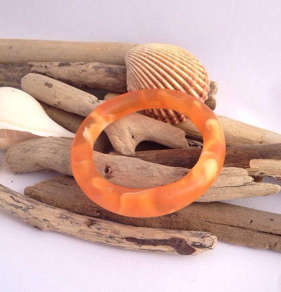 Marble effect eco-resin organically shaped tangerine bangle