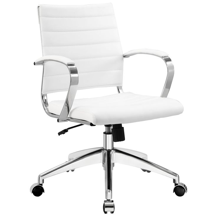 Modway Black Vinyl Jive Ribbed High Back Executive Office Chair White