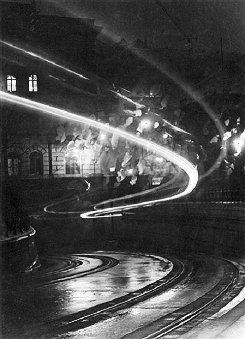"""Night Phantoms"" (time-lapse tram) by Hungarian photographer Imre Kinszki (1938)"