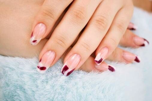 Red and white french gelish manicure