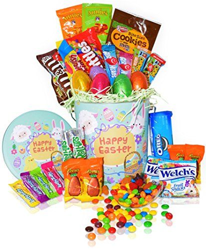 Easter Snack Gift Tin Basket - 29 COUNT - Easter Candy Eggs Easter Chocolates - Great Easter Care Package for Family Friends Kids Coworkers