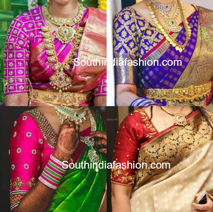 Elbow Length Sleeves Blouse Designs for Kanjeevaram Sarees