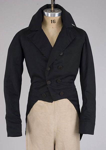 Gent's Black Broadcloth Tailcoat, 1830-1845 -whitakerauction.smugmug.com Tasha Tudor Auction
