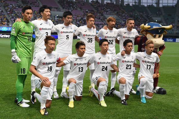 Vissel Kobe players ine up for the team photos prior to the preseason friendly match between Vegalta Sendai and Vissel Kobe at Yurtec Stadium Sendai on July 22, 2017 in Sendai, Miyagi, Japan.
