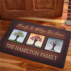 This personalized Seasons Doormat is such a beautiful piece of home décor! LOVE the tree designs!