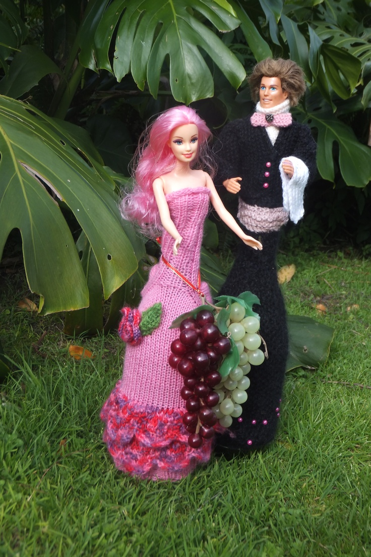 Ken and Barbie.  Barbie was made for Mahurangi River Estate, Pretty In Pink. Ken was an exhibition piece made by Sharleen for Plume Restaurant.