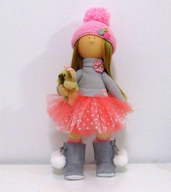 Anna Doll-Handmade Doll-Fabric Doll-Rag Doll-Textile Doll-Handmade Doll-Home Decoration Doll-Interior Doll-Cloth Doll-Pink Doll-Decor Doll