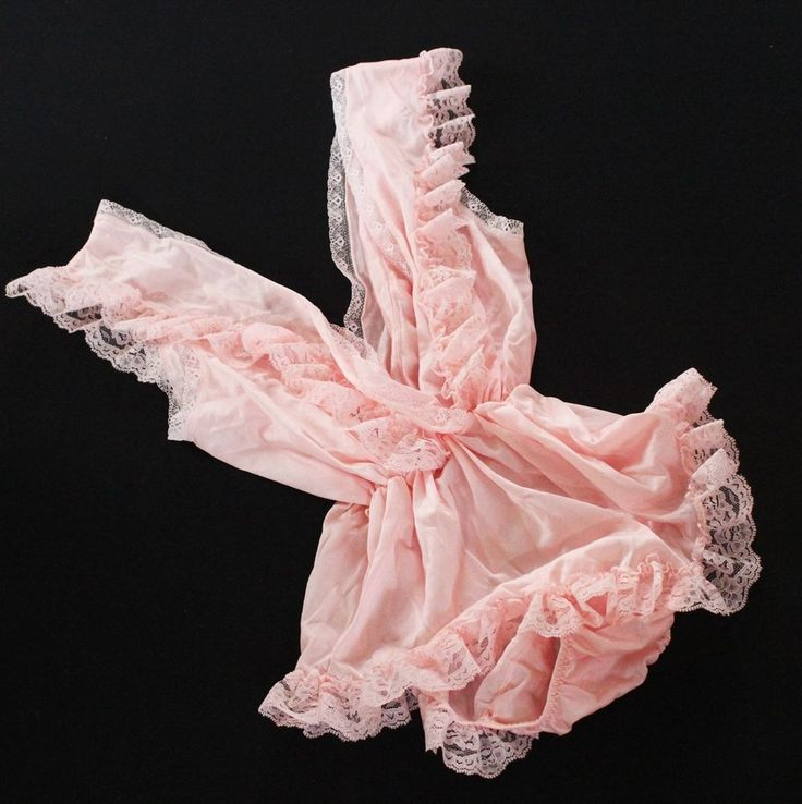 Vtg Lacey lingerie baby doll one piece nighty ruffled romper Sz med deep V  #Dominique