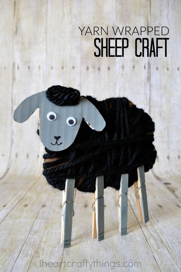 This yarn wrapped sheep craft for kids is adorable and makes a fun spring or Easter kids craft. It is also great for learning the nursery rhyme Baa, Baa, Black Sheep. Find some great children's book recommendations within the post.