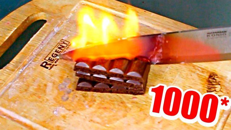 ЭКСПЕРИМЕНТ Раскаленный НОЖ 1000 градусов VS шоколад | EXPERIMENT Glowin...